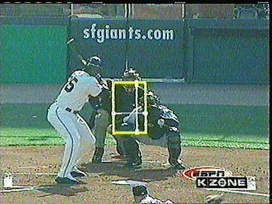 "The ""K Zone"" technology shows a pitch being tracked with Barry Bonds at the plate at Pac Bell Park. ESPN Photo"