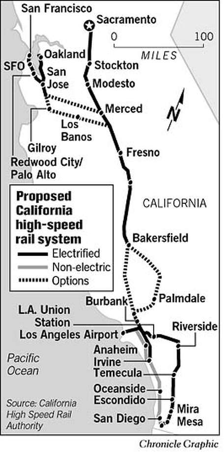 Proposed California High-Speed Rail System. Chronicle Graphic Photo: Joe Shoulak
