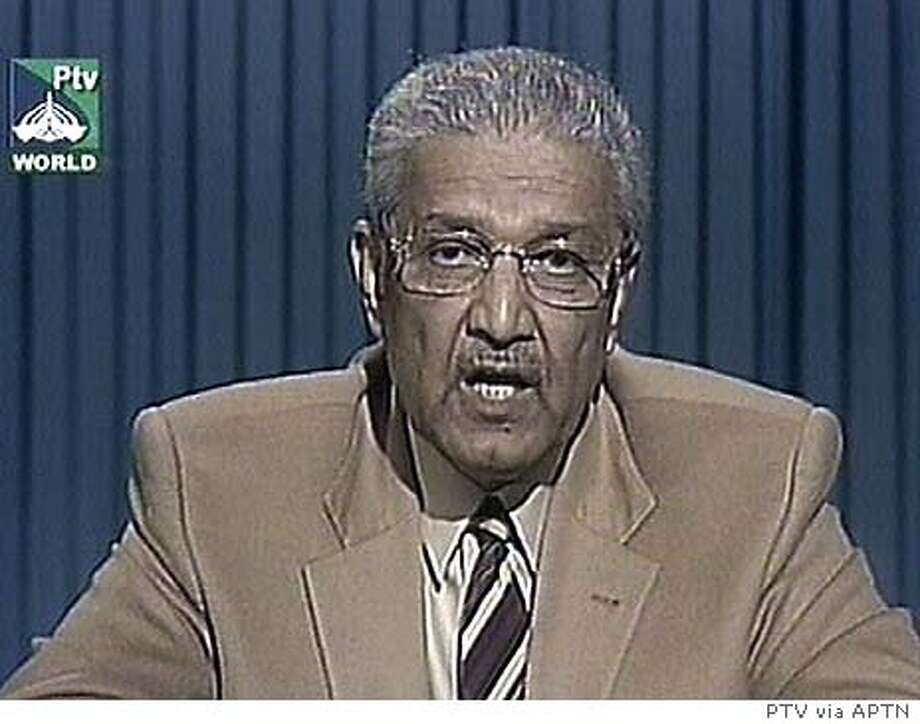 Abdul Qadeer Khan, the founder of Pakistan's nuclear program apologizes in a nationally televised address Wednesday Feb. 4, 2004 in Islamabad, for spreading weapons secrets, saying he took full responsibility for the leaks and asking for forgiveness. (AP Photo/PTV via APTN) ** PAKISTAN OUT TV OUT ** Abdul Qadeer Khan apologized on national TV for spreading nuclear weapons secrets.