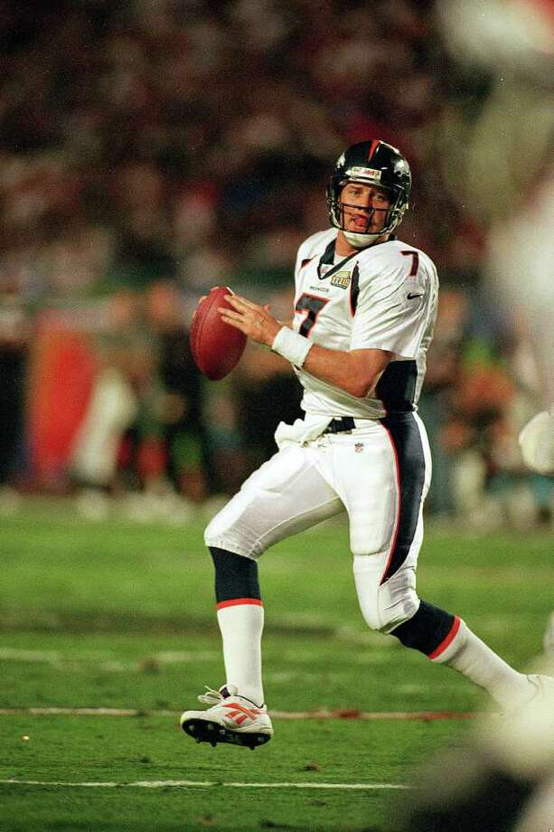 """John Elway (27):""""This one's for John,"""" Broncos owner Pat Bowlen said after the team's 1998 Super Bowl victory, referring to the veteran QB who was nearing the end of his career without a ring. Photo: Al Bello, Getty Images / Getty Images North America"""