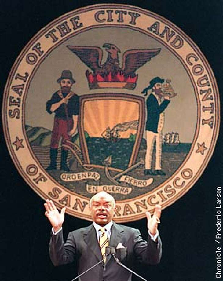 BROWN/14OCT97/MN/FRL: Willie Brown speaks to the city during his State of the City address at Herbst Theater, SF. Chronicle photo by Frederic Larson.