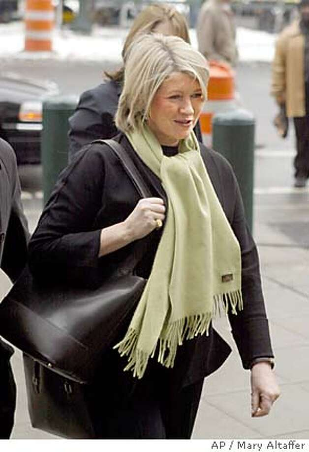 arrives at federal court in Manhattan, Tuesday, Feb. 3, 2004, in New York. Stewart faces charges including conspiracy, obstruction of justice and securities fraud in the trading of ImClone Systems stock. (AP Photo/Mary Altaffer) Photo: MARY ALTAFFER
