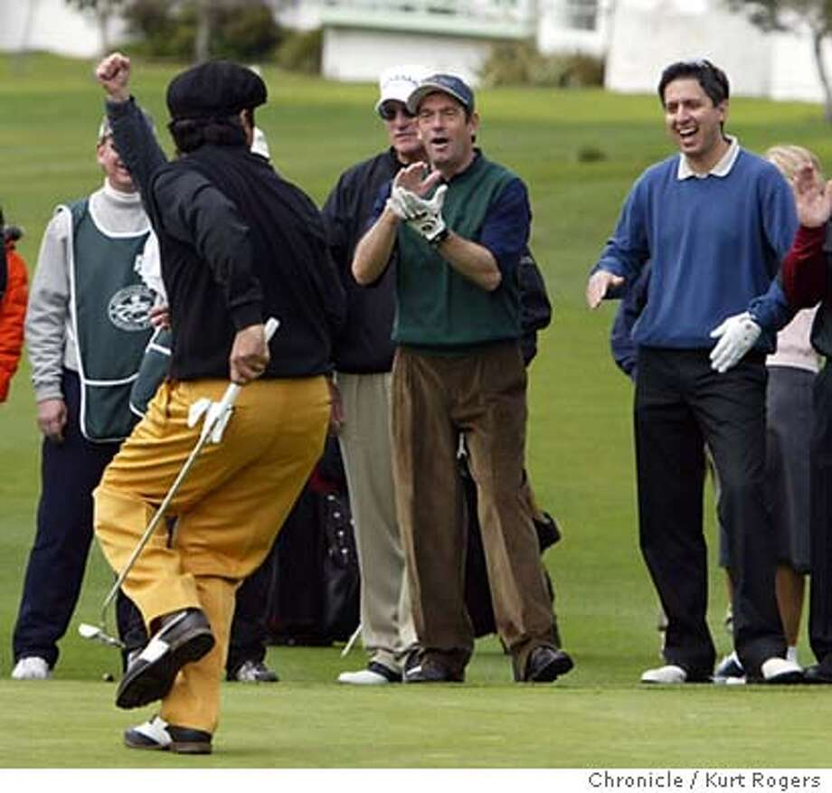 George Lopez sank a put on the 2nd as Huey Lewis and Ray Romano react in the background . The AT&T Pebble Beach National Pro-Am. Event on 2/4/04 in Pebble Beach. Kurt Rogers/The Chronicle Photo: Kurt Rogers