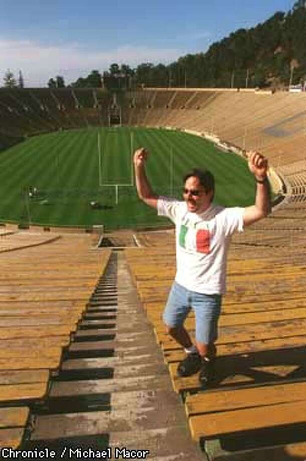"""The Hayward Fault"" Cal Berkeley's Memorial Stadium, where the Hayward Fault runs beneath the West sidelines of the football field, Berkeley resident Anthony Golden actually jumps for joy about the mention of earthquakes. Chronicle Photo: Michael Macor Photo: MICHAEL MACOR"
