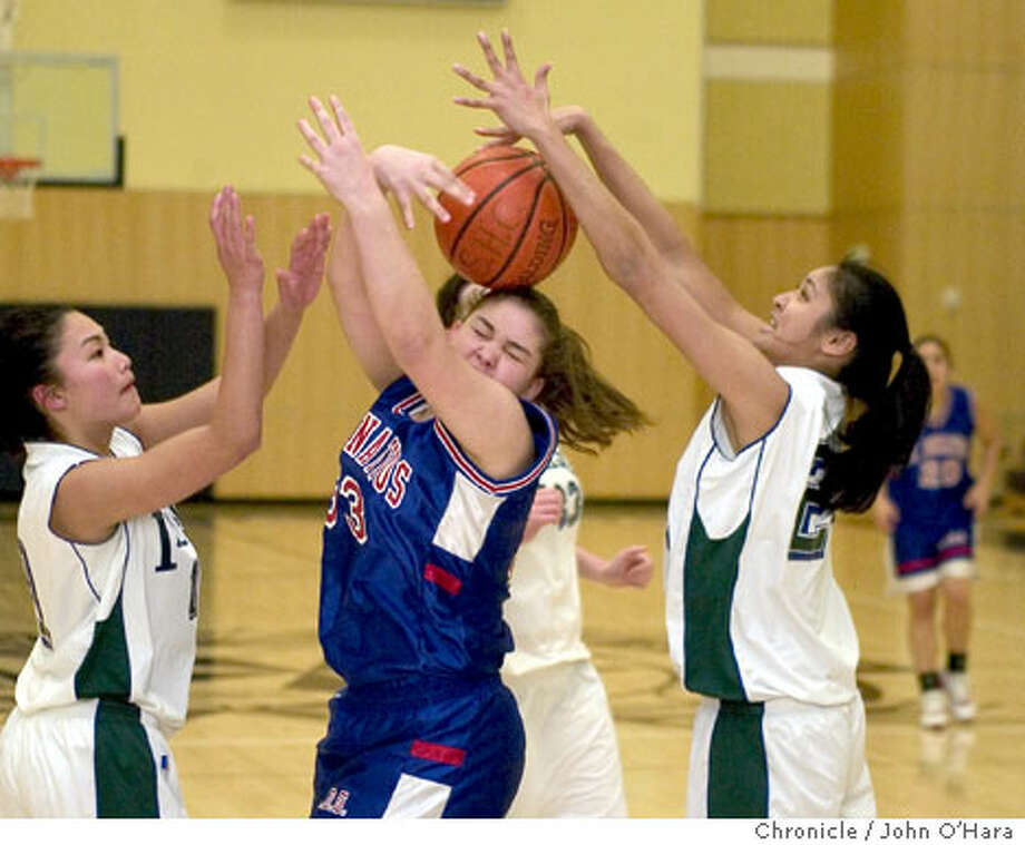 The ball seems to be elusive to St. Ignatius' Jen Curtin, center, and Sacred Heart's Trisha Alaba, left, and Nicole Gonzales. Chronicle photo by John O'Hara
