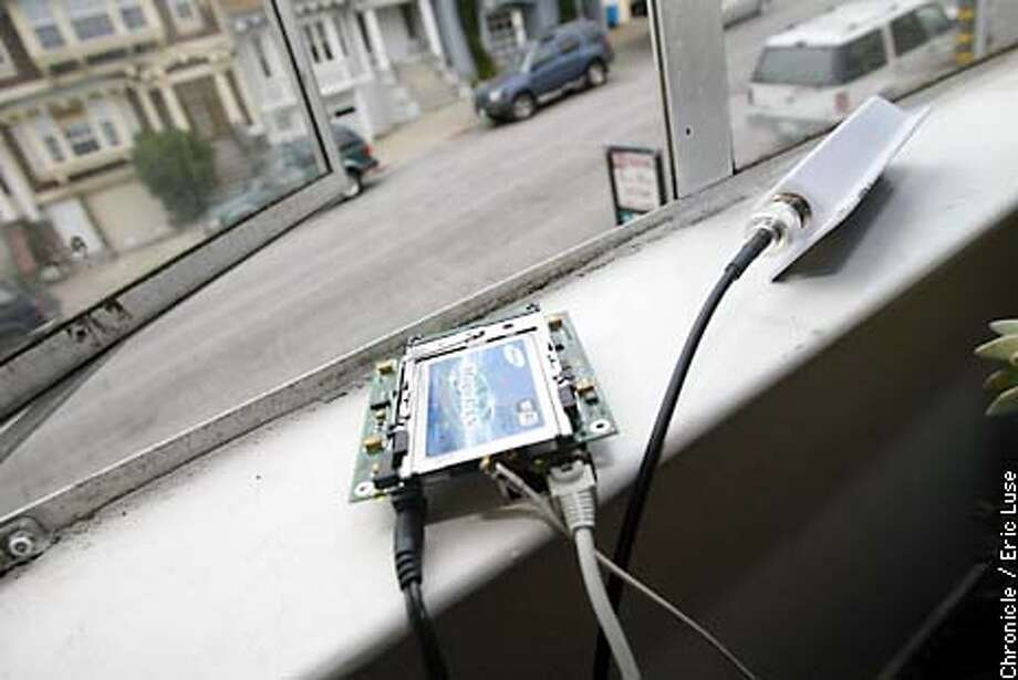 Dan Augustine, co-founder of SF WIreless leaves the antenna and computer componet on his window allowing users in his neighborhood to access the internet for free.  BY ERIC LUSE/THE CHRONICLE Photo: ERIC LUSE