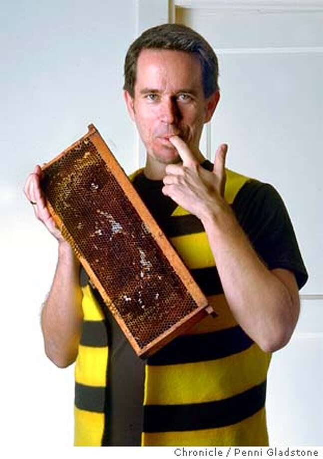 """Mani Niall, beekeeper and author of a cookbook called """"Covered in Honey."""" he has atest-kitchen with 85 varietals. 12/18/03 in Mill Valley.  PENNI GLADSTONE / The Chronicle Photo: PENNI GLADSTONE"""