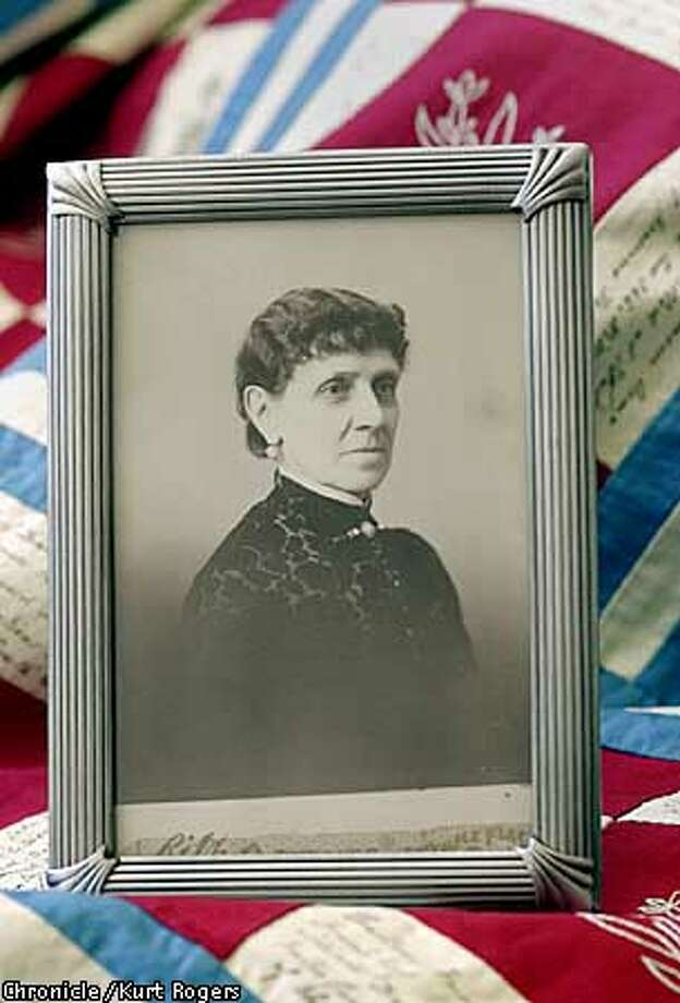 Emma Safford the woman who made the Quilt. The Great Great Great grandmother of Kris Mason. Kris Mason's family has cherished a memento of a different sort: a handmade quilt dating to the U.S. Civil War. This quilt, recently valued at $250,000 by Sotheby's auction house, will be the centerpiece of an All American display at the seaside resort over Fourth of July weekend. The quilt was hand-sewn at the height of the Civil War in 1862; every square features a piece of history including drawings of the 16 presidents-to-date .Photo By Kurt Rogers Photo: Kurt Rogers