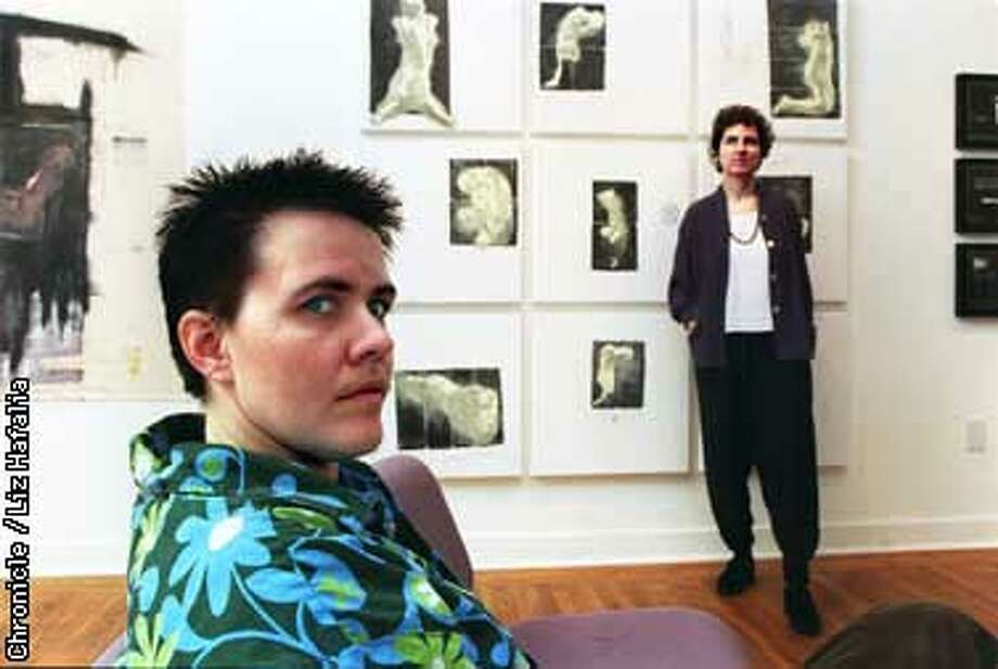 """Daphne Scholinski (front) is author with Jane Adams (back, right) of """"The Last Time I Wore A Dress"""".In the background is 'Nine', mixed media on canvas dated 1996. Liz Hafalia Photo: Liz Hafalia"""