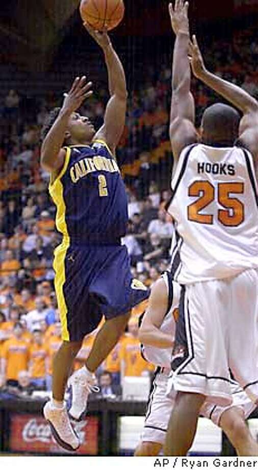 California's A.J. Diggs (2) shoots against Oregon State's Kenny Hooks (25) and other defenders during the first half Saturday, Jan. 31, 2004, in Corvallis, Ore. (AP Photo/Ryan Gardner) Photo: RYAN GARDNER
