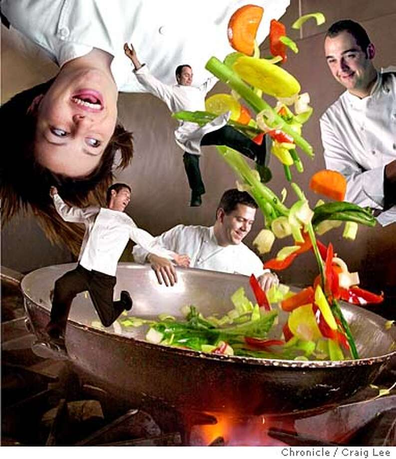 "Frying pan with vegetables flying in the air. This photo is for a conceptual photo of five ""rising chefs"" flying out of the pan by photoshoping them in. This photo was done in the kitchen at the Bambuddha Lounge which inside of the Phoenix Hotel on Eddy street in San Francisco.  Event on 12/16/03 in San Francisco.  CRAIG LEE / The Chronicle Photo: CRAIG LEE"