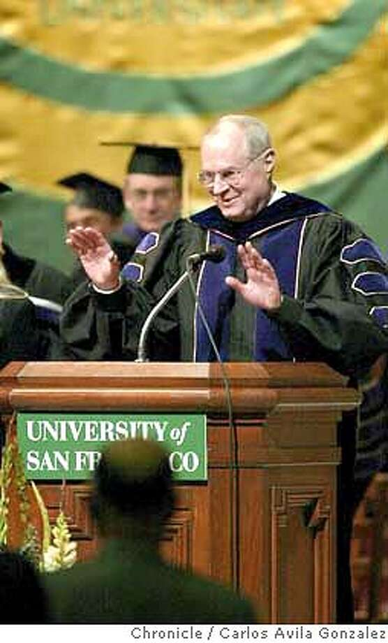 U. S. Supreme Court Justice Anthony Kennedy thanks the crowd for their warm welcome as he begins his keynote address at the rededication of USF's School of Law's Koret Law Center in San Francisco, Ca., on Thursday, January 29, 2004.  Photo taken on 01/29/04, in San Francisco, Ca.  Photo by Carlos Avila Gonzalez/The San Francisco Chronicle Photo: Carlos Avila Gonzalez