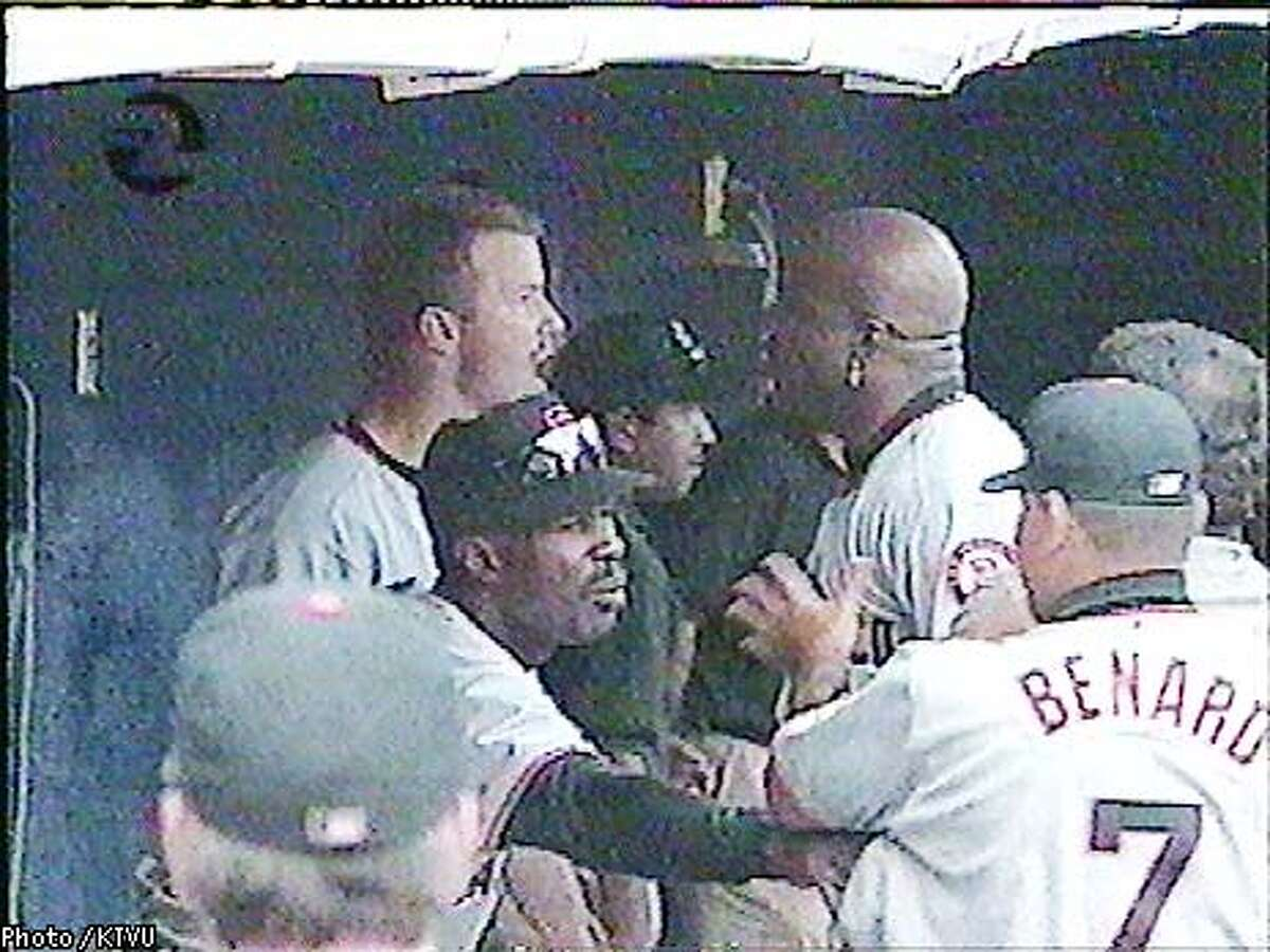 Words led to a physical confrontation between Barry Bonds and teammate Jeff Kent in the Giants' dugout during Tuesday night's game against San Diego. Photo courtesy of KTVU
