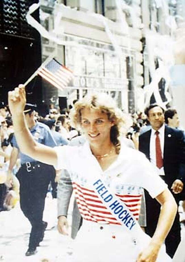 Sheryl Johnson in a photo from the ticker tape parade during the 1984 Olympic medal tour in New York in 1984. Johnson, head coach of Stanford's field hockey team for the past 17 years was on the 1984 Olympic bronze-medal winning field hockey team. Photo courtesy of Sheryl Johnson. Photo: Jeff Chiu