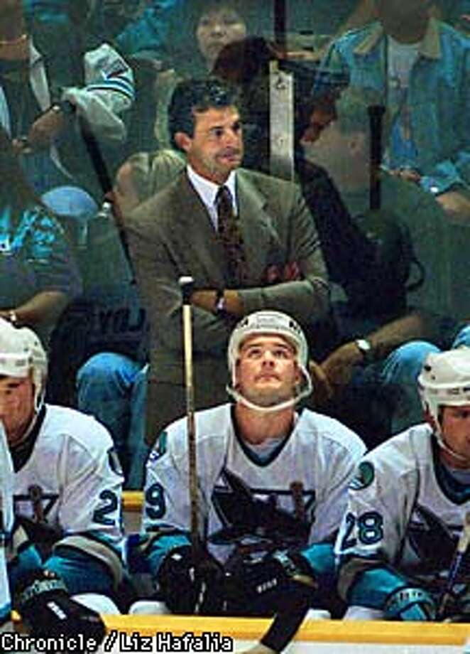 SHARKS 2/C/18SEP97/SP/LH--Darryl Sutter, head coach of the Sharks, watching the game from the bench. Liz Hafalia Photo: Liz Hafalia
