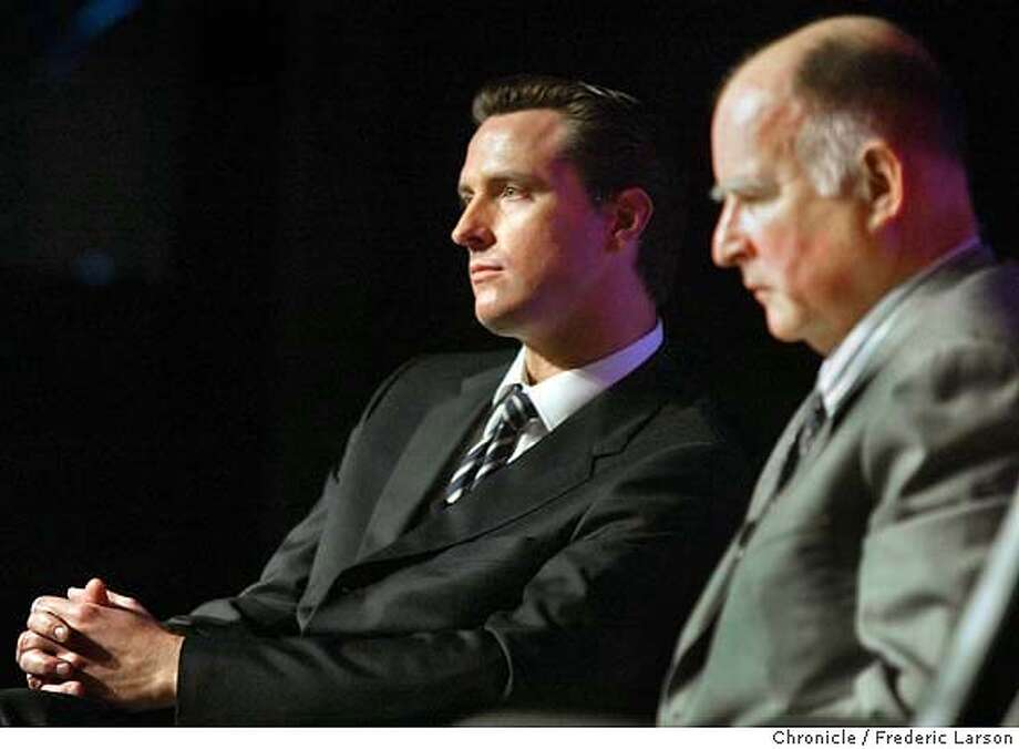 ; Mayors Gavin Newsom and Jerry Brown get an earful on the depressed commercial market from Bekeley real estate guru Ken Rosen and other experts at an industry breakfast. It's the first time the mayors will be together in public and they are likely to try putting a happy face on what is still a languishing business climate. City:� 1/29/04, in Oakland, CA. Frederic Larson/The Chronicle; Photo: Frederic Larson
