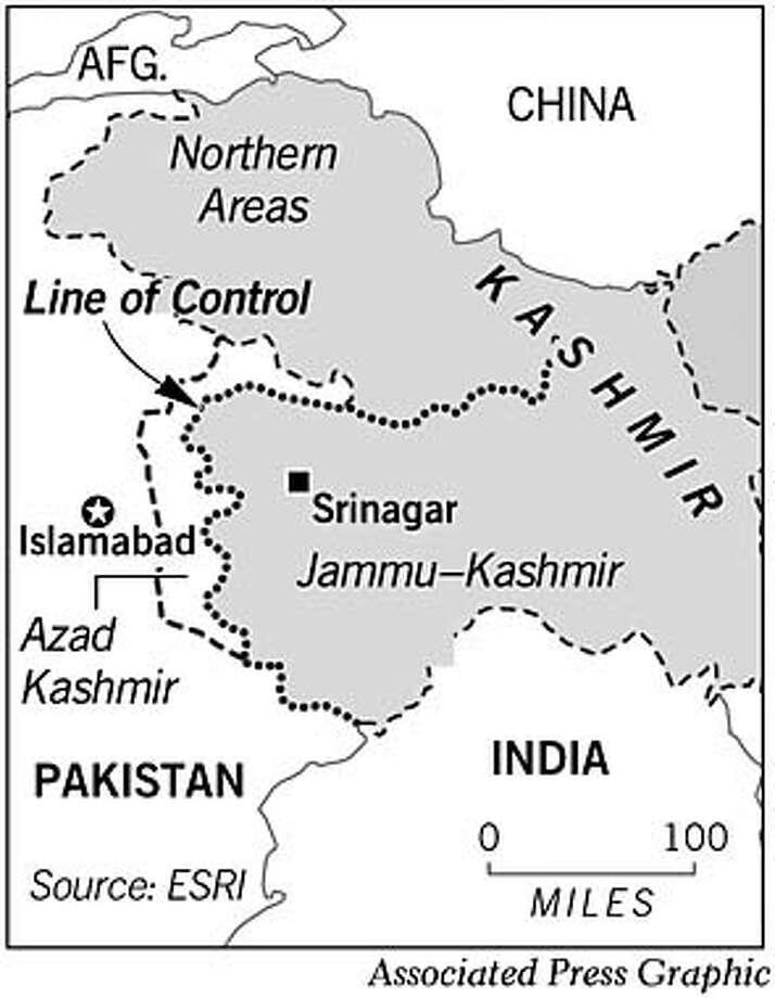 Kashmir. Associated Press Graphic