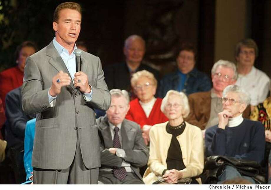 """A7DC0787.JPG Governor Arnold Schwarzenegger along with State Controller Steve Westley continue their pitch for Ballot Measures 57 &58 to an effort to deal with the California deficit. The two address a packed crowd at the retirement community, """"Rossmoor"""" in Walnut Creek. Event on 1/29/04 in Rossmoor. MICHAEL MACOR / The Chronicle MANDATORY CREDIT FOR PHOTOG AND SF CHRONICLE/ -MAGS OUT Photo: MICHAEL MACOR"""