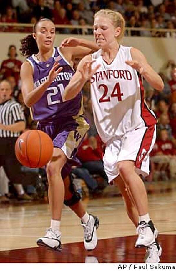 Stanford guard Susan Borchardt loses the ball in front of Washington guard Angie Jones in the first half, Thursday, Jan. 29, 2004 in Stanford, Calif. (AP Photo/Paul Sakuma) Photo: PAUL SAKUMA