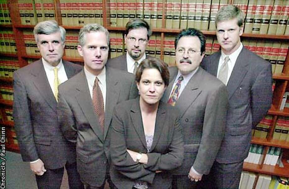Martha Boersch heads up the U.S. Attorney's Securities Fraud Unit for the Northern District of California. Behind Boersch are federal attorneys in her unit: (L to R) Stephen Jigger, Patrick Robbins, John Hemann, Jeffrey Bornstein and David Anderson.  PAUL CHINN/S.F. CHRONICLE Photo: PAUL CHINN