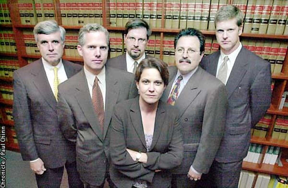 Martha Boersch heads up the U.S. Attorney's Securities Fraud Unit for the Northern District of California. Behind Boersch are federal attorneys in her unit: (L to R) Stephen Jigger, Patrick Robbins, John Hemann, Jeffrey Bornstein and David Anderson. PAUL CHINN/S.F. CHRONICLE