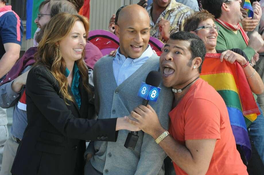 "(l-r) Erin Gibson, Keegan-Michael Key, Jordan Peele appear in a scene from, ""Key and Peele."" Photo: Mike Yarish, Comedy Central"