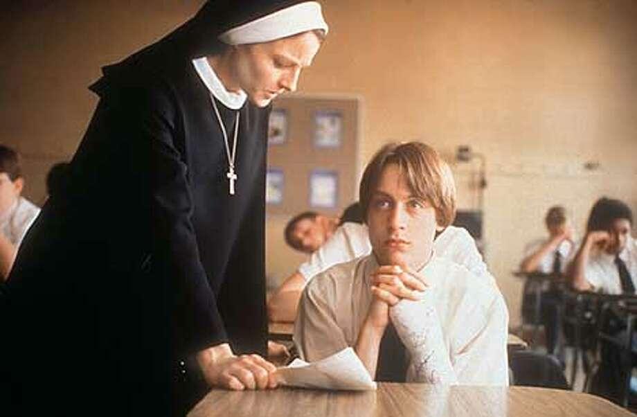 "Sister Assumpta (Jodie Foster) confronts class troublemaker Tim (Kieran Culkin) in ""The Dangerous Lives of Altar Boys."""