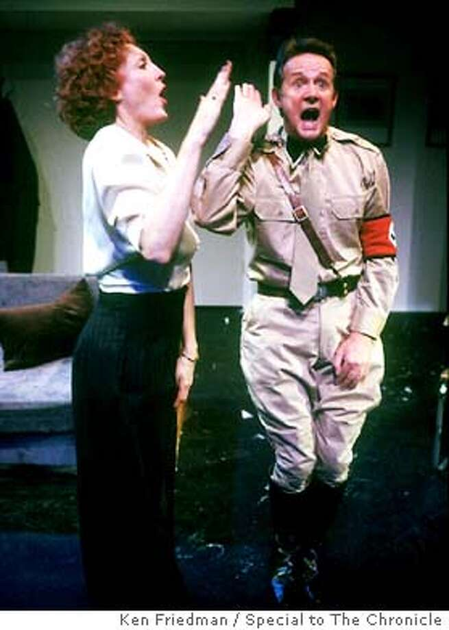 """Times Like These.jpg  Norbert Weisser as Oscar Weiss and Laurie O'Brien as Meta Wolf in John O'Keefe's new play, """"Times Like These."""" The show runs at Traveling Jewish Theatre (470 Florida Street in San Francisco) from Jan. 21 to Feb. 22 and then moves to the Julia Morgan Center for the Arts (2640 College Ave. in  Berkeley) from Feb. 26 to the 29th. For information or to order tickets please call the TJT box office at 415/285-8080 or click to www.atjt.com Photo Credit: Ken Friedman/Special To the Chronicle In &quo;Times Like These,&quo; based on a true story, Laurie O'Brien and Norbert Weisser play married actors living in Nazi Germany. Photo: KEN FRIEDMAN"""