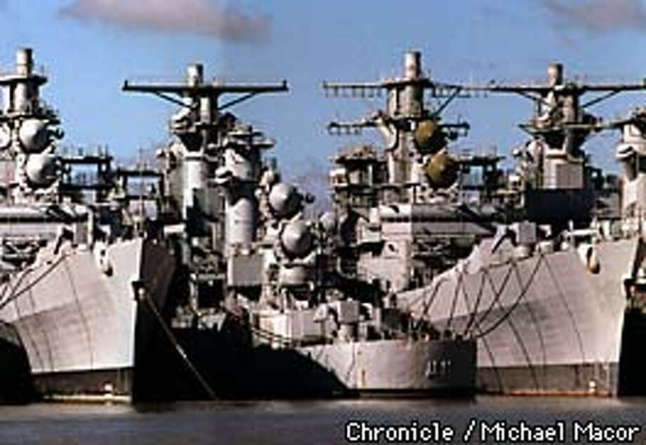 The Mothball Fleet group of ships sit idle in Suisun Bay of Contra Costa County waiting for a chance to serve their country maybe one last time. A group of miliatry vessels will be used for their parts or scrapped. Chronicle Photo: Michael Macor Photo: MICHAEL MACOR