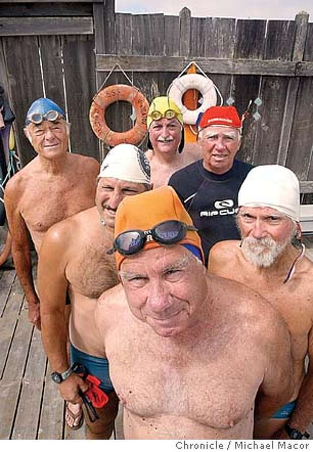 "Members of the ""Dolphin Club"" prepared for their swim in the Bay. clockwise from front are- LouMarcelli, Phil Sancimino, Walt Schneebeli, John Davis and Ray Artiques. They call themselves, The Antique Roadshow. Swim clubs of San Francisco Bay. We take a look at the two oldest, ""The Dolphin Club"" and ""South End Rowing Club"".  8/26/03 in San Francisco. MICHAEL MACOR / The Chronicle Photo: MICHAEL MACOR"