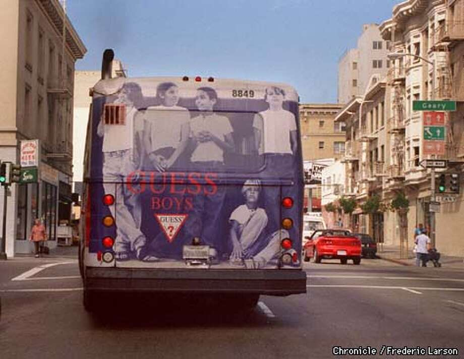 BILLBOARD1/09SEP97/BU/FRL: A huge wrapped ad on a Muni bus tells how advertisers are becoming increasingly innovative in trying to get their message across in a cluttered urban environment. Chroncile photo by Frederic Larson.