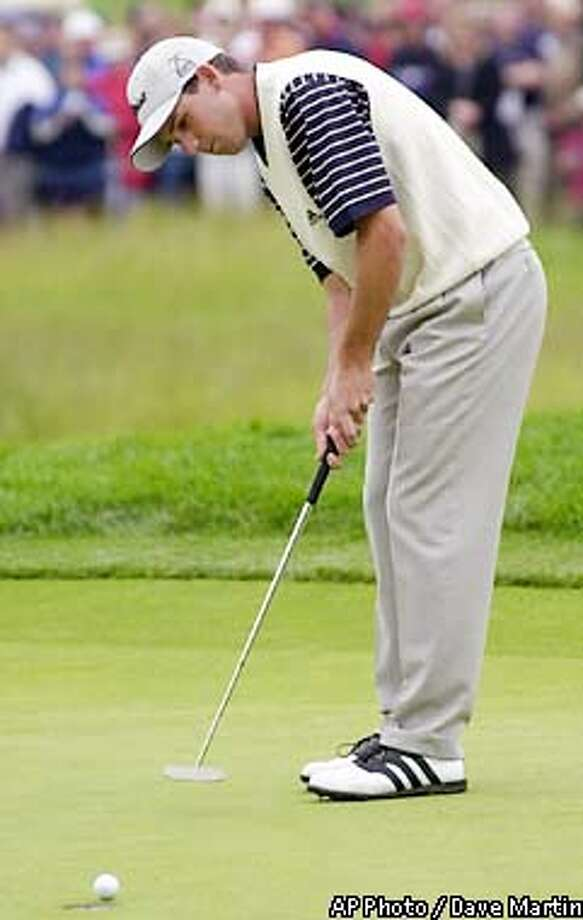 Sergio Garcia putts for a birdie on the first green during the third round of the U.S. Open Golf Championship at the Black Course of Bethpage State Park in Farmingdale, N.Y., Saturday, June 15, 2002. (AP Photo/Dave Martin) Photo: DAVE MARTIN