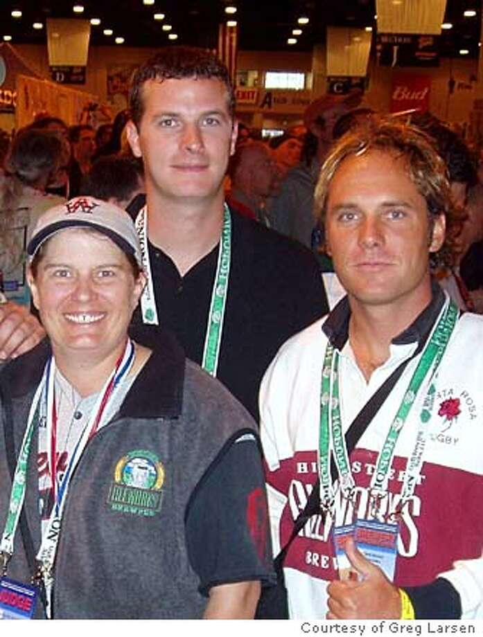 / for: Friday slug: NBJONES23;  Pictured from left to right � Brewmaster Denise Jones, brewer Chris Harger, and owner/partner Todd Hedrick. Greg Larsen / HO Photo: Greg Larsen