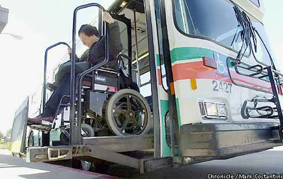 Janet rides the wheelchair lift off of an AC transit bus at the El Cerrito Del Norte BART Station. Commuter Chronicle. Janet Abelson, the mayor of El Cerrito, uses a wheelchair to get around, even when using public transit. We shadow Abelson this Friday, while she runs errands on AC Transit, BART and East Bay paratransit. Photo: Mark Costantini/SF Chronicle Photo: MARK COSTANTINI