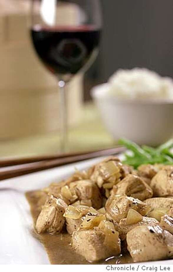 PAIRINGS22030_cl.jpg  Photo of Chicken with Black Bean Sauce paired with Russian River/Alexander valley Zinfadel wine. Food photo styled by Shanti Wilson.  Event on 1/19/04 in San Francisco.  CRAIG LEE / The Chronicle ProductNameChronicle Photo: CRAIG LEE