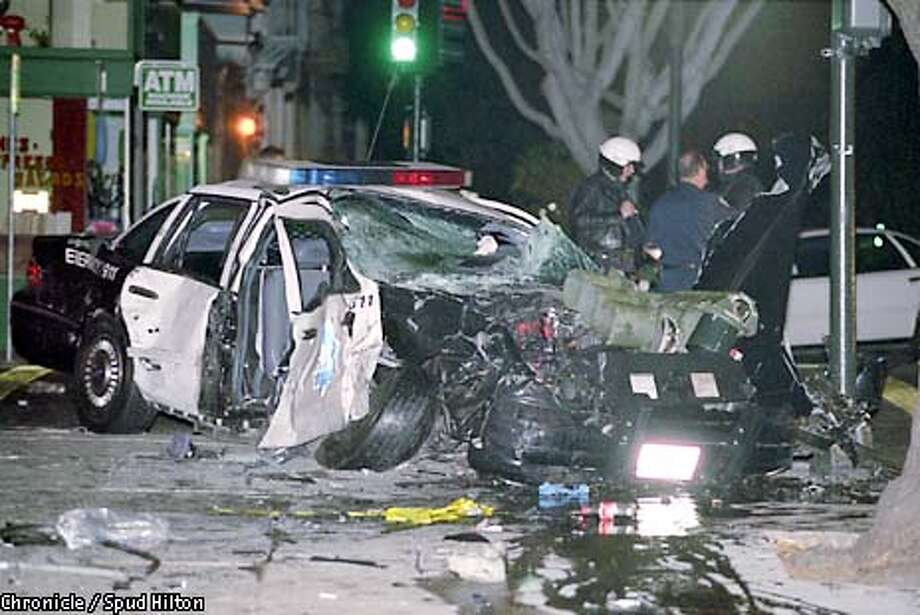 One officer was killed and three were injured following the crash of two SFPD cars on 17th and Dolores streets. Photo: SPUD HILTON