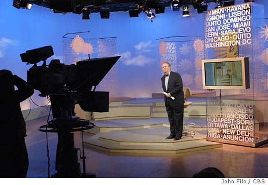 CBS.jpg  Anchor Charles Osgood on the CBS NEWS SUNDAY MORNING set during a recent live broadcast. The show will celebrate its 25th anniversary on January 25th, 2004.  Photo: John Filo / CBS  �2003 CBS Broadcasting Inc. All Rights Reserved  copyright: MANDATORY CREDIT; NO ARCHIVE; ; FOR NORTH AMERICAN USE ONLY Photo: JOHN FILO
