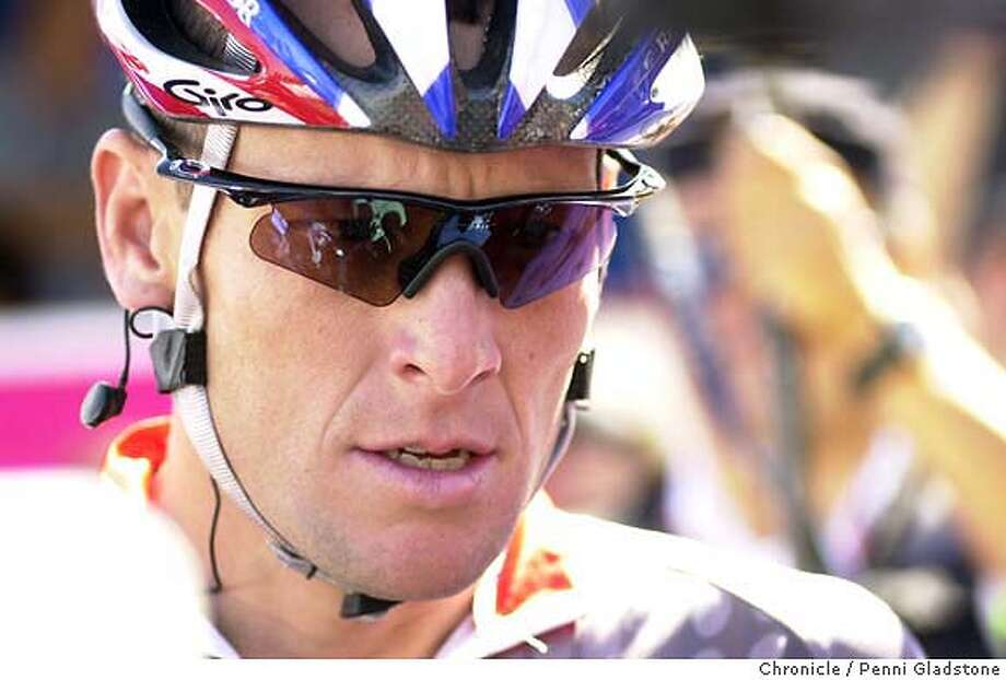 RACE159_pg.jpg  Intense Lance Armstrong just before the beginning of the men's race. T-Mobil International bicycle race, men's and women's  9/14/03 in San Francisco.  PENNI GLADSTONE / The Chronicle Photo: PENNI GLADSTONE