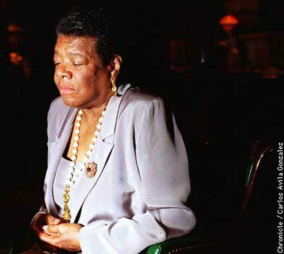 Maya Angelou paused while talking about the late Herb Caen. BY CARLOS AVILA GONZALEZ/THE CHRONICLE Photo: CARLOS AVILA GONZALEZ