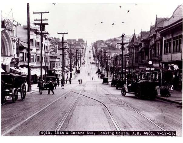 "A 1915 photo shows Castro from Market Street facing toward Noe Valley. The Castro Theater is on the left. Photo from ""San Francisco's Castro''"