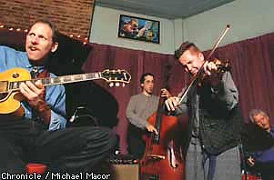from left: Bruce Foreman (guitar), Tom Wiitala (bass), Nigel Kennedy (fiddle, i mean violin), and Vince Luteano (drums) jammed together at Jazz at Pearls after Kennedy performed at the SF Symphony opening Wednesday night. BY MICHAEL MACOR/THE CHRONICLE Photo: MICHAEL MACOR