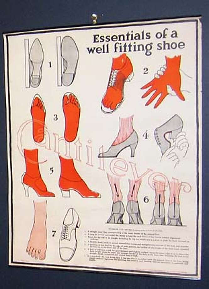 """Comical teaching chart showing the """"Essentials of a well fitting shoe'' ($45) from Ivan Home."""