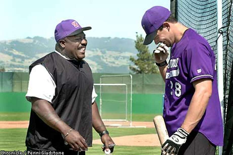 Sharing a laugh with coach former Giants player, Kevin Mitchell. Sonoma Crushers infielder Dave Molidor at the Rohnert Park Stadium. Santa Rosa native who's in his first year with the Crushers and is one of the team's leading hitters.  PHOTOGRAPHY BY PENNI GLADSTONE Photo: PENNI GLADSTONE