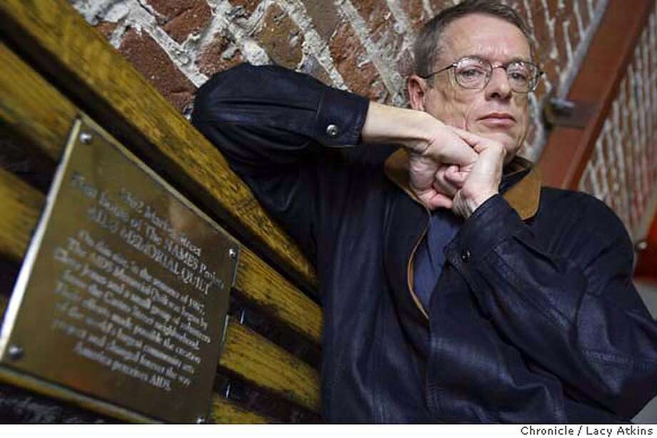 "QUILT_033_.jpg  AIDS activist Cleve Jones, creator of the AIDS quilt, at the ""Catch"" , January 15, 2004, which was once the factory where the AIDS quilt first started, in San Francisco.  Lacy Atkins / The Chronicle MANDATORY CREDIT FOR PHOTOG AND SF CHRONICLE/ -MAGS OUT Photo: Lacy Atkins"