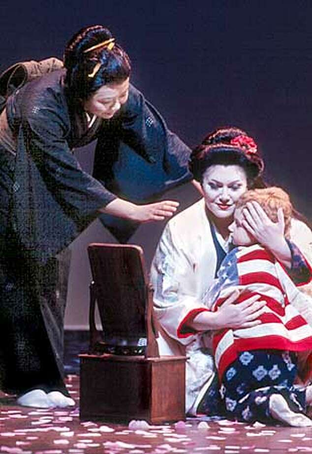 "Zheng Cao as Suzuki, Miriam Gauci asCio-Cio-San, and Kalina Simeonova as Butterfly's child ""Trouble"" in 1997. Photo: HANDOUT"