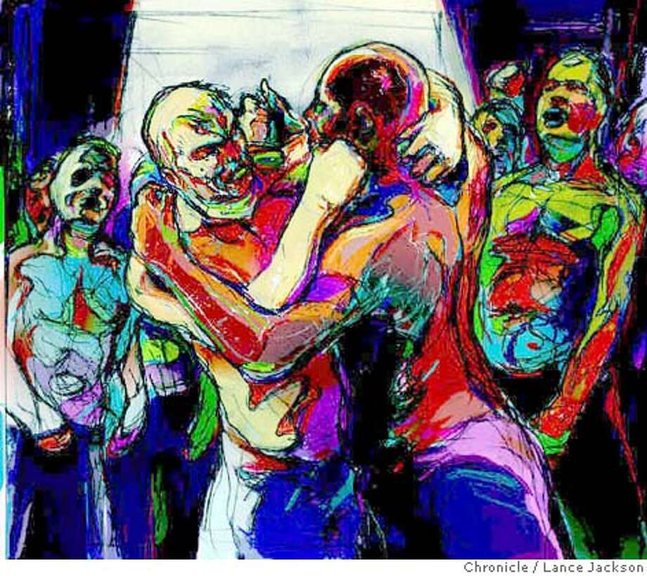 San Francisco's real-life fight club. Chronicle illustration by Lance Jackson