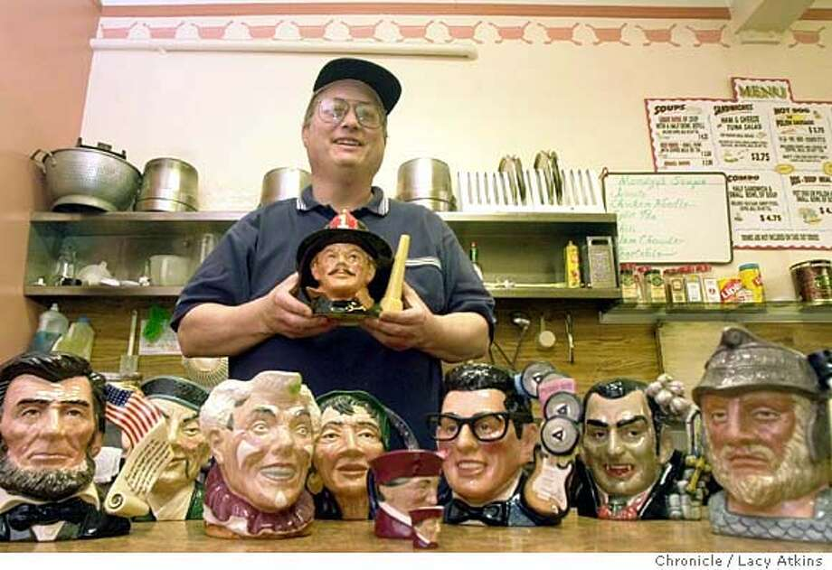 GAGNON_005_.jpg  John Frank collects Royal Doulton character jugs (ceramics in the shape of people, animals, etc.). He works at Soups restaurant and will bring in half a dozen jugs to photograph. Lacy Atkins / The Chronicle MANDATORY CREDIT FOR PHOTOG AND SF CHRONICLE/ -MAGS OUT Photo: Lacy Atkins