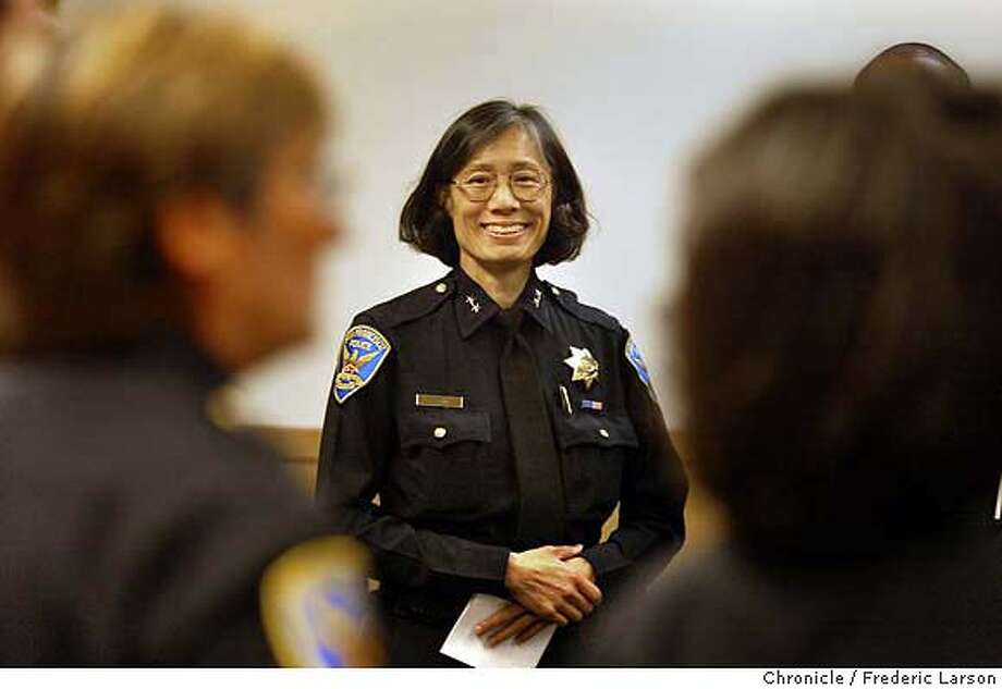 SFCOPS06-C-05MAR03-MT-FRL: Acting SF Police Chief Heather Fong tries through a press conference at the SF hall of Justice to regain respest of the community by introducing her staff of high ranking police officers that will replace the 10 police officers (including the Chief of Police Earl Sanders) who are suspended by the grand jury from various charges. Chronicle photo by Frederic Larson Photo: FREDERIC LARSON