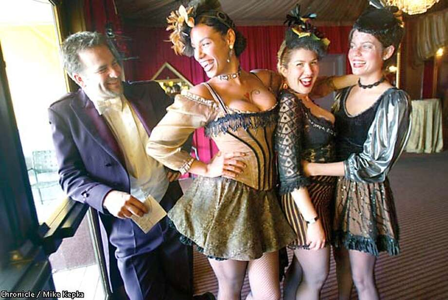 Whoop it up: Doing their part to help raise money that will fund programs for San Francisco Suicide Prevention are, from left, J.D. Thomas, Nicole Whitten, Eva Swanson and Ragan Hall at Teatro Zinzanni. Chronicle photo by Mike Kepka
