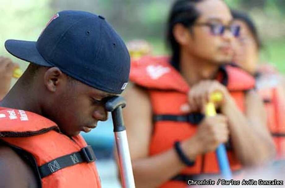 DWAYNE TATUM, 16, WAS A LITTLE WORRIED ABOUT THE UPCOMING TRIP JUST BEFORE THE GROUP LEFT FOR THE DAY. (CHRONICLE PHOTO BY CARLOS AVILA GONZALEZ) Photo: CARLOS AVILA GONZALEZ